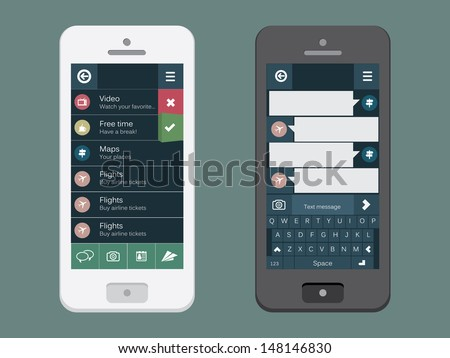 Mobile phone with flat user interface - stock vector