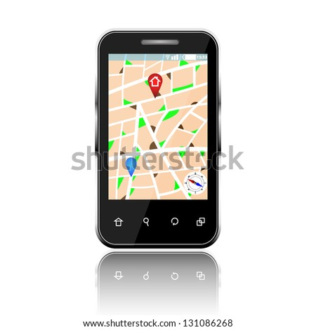 Mobile Phone with GPS navigation - stock vector