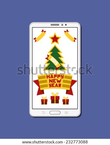 Mobile phone with greetings card: Happy new year, with swappable screen and background - stock vector