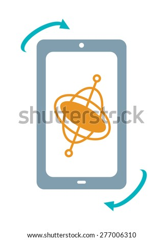 Mobile Phone with Gyroscope Technology Device used for different practical applications like GPS, compass and motion-based games  - stock vector
