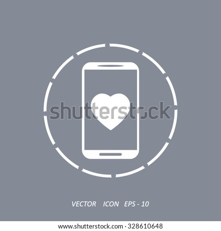 Mobile phone with heart sign icon, vector illustration.