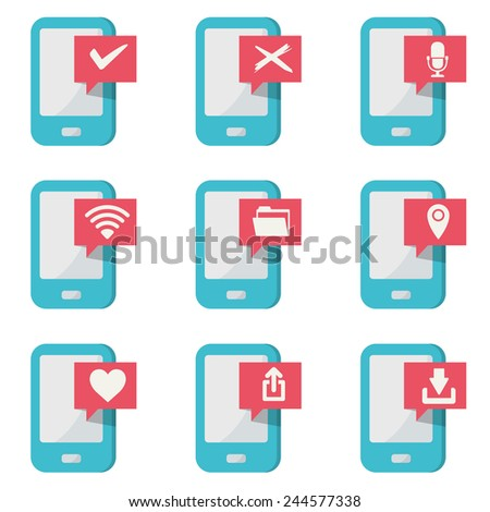 mobile phone with icons - stock vector