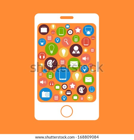Mobile phone with icons programs. Vector - stock vector
