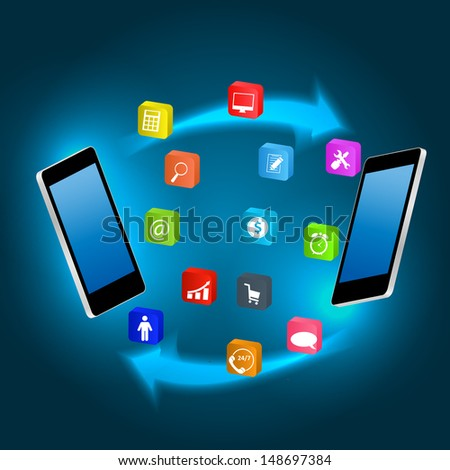 Mobile phone with  icons vector ilustration