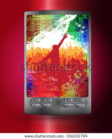 Mobile phone with music application - stock vector