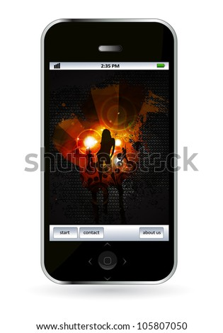 Mobile phone with music event application - stock vector
