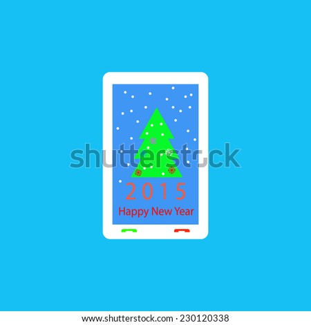 Mobile phone with New Year greetings. - stock vector