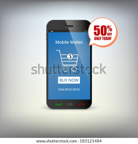 Mobile phone with shopping basket on the screen. Symbol of e-commerce. Shop the mobile