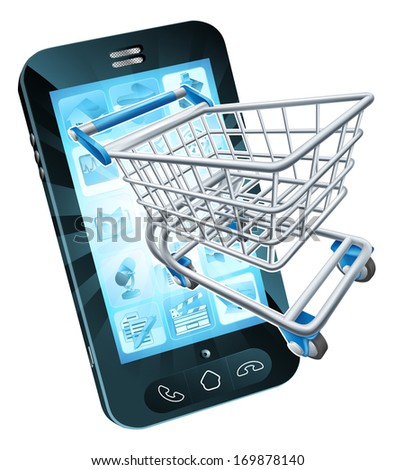 Mobile phone with shopping cart flying out, concept for shopping online or for apps or mobile phone - stock vector