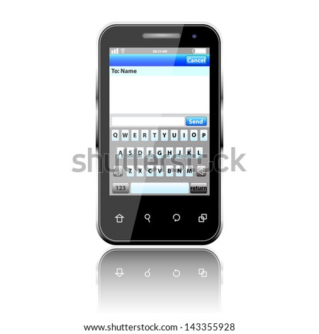 Mobile phone with sms menu screen. Space for text. 3d - stock vector