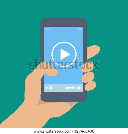 Mobile phone with video player on the screen in the human hand or movie app  vector illustration.  - stock vector