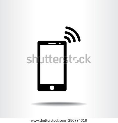 Mobile phone with wireless sign icon, vector illustration. Flat design style - stock vector