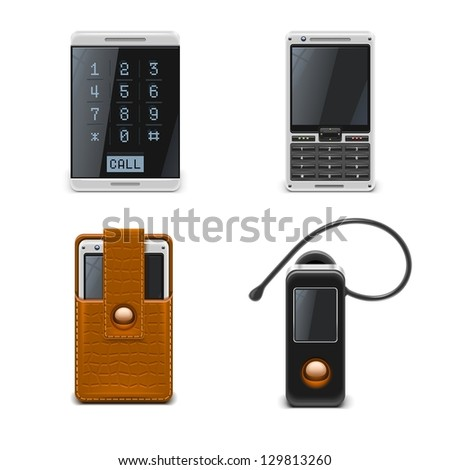 mobile phones vector icon set xxl - stock vector