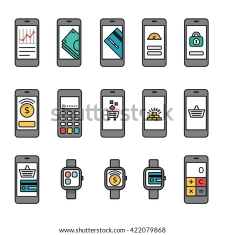 Mobile phones with banking and online shopping screens collection + Terminal & Watches bonus.  - stock vector