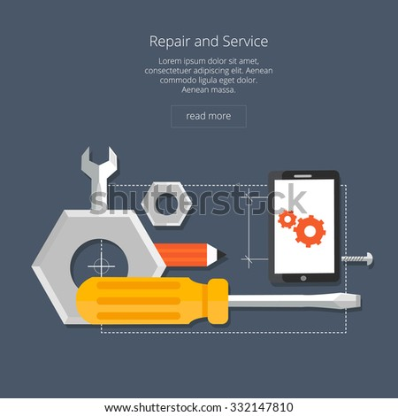 Mobile repair and service concept. Smarthone with tools. Repair smart phone electronic. Flat icon modern design style concept - stock vector