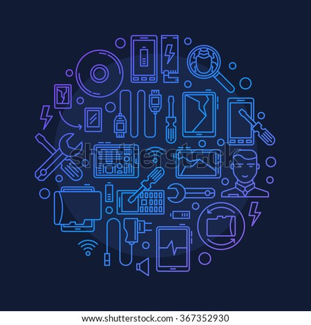 Mobile repair illustration - vector round smart phone or tablet repair symbol made with outline icons on dark blue background - stock vector
