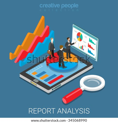 Mobile report analysis tool app flat 3d isometry isometric business concept web vector illustration. Businessmen standing on pie graphic tablet. Creative people collection. - stock vector