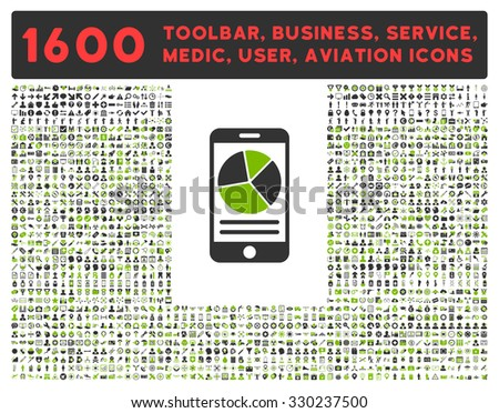 Mobile Report vector icon and 1600 other business, service tools, medical care, software toolbar, web interface pictograms. Style is bicolor flat symbols, eco green and gray colors, rounded angles - stock vector