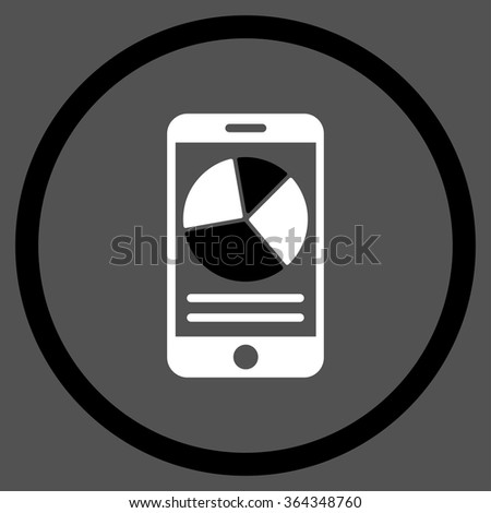 Mobile Report vector icon. Style is bicolor flat circled symbol, black and white colors, rounded angles, gray background. - stock vector