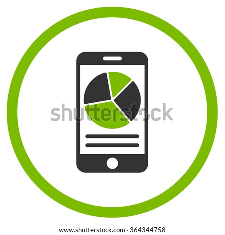 Mobile Report vector icon. Style is bicolor flat circled symbol, eco green and gray colors, rounded angles, white background. - stock vector