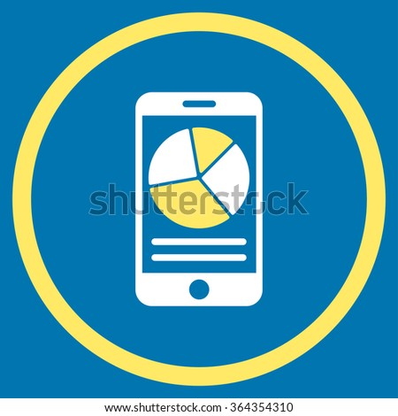 Mobile Report vector icon. Style is bicolor flat circled symbol, yellow and white colors, rounded angles, blue background. - stock vector