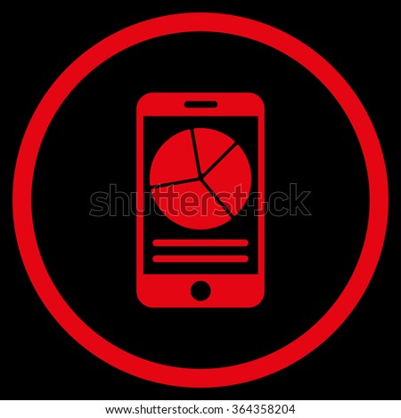 Mobile Report vector icon. Style is flat circled symbol, red color, rounded angles, black background. - stock vector