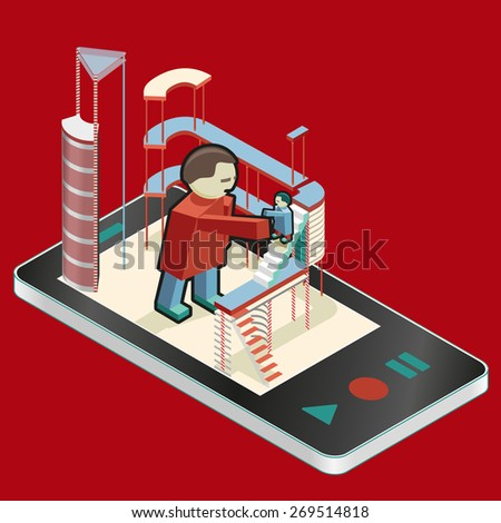 Mobile researching and new technologies. Humans in communication. - stock vector