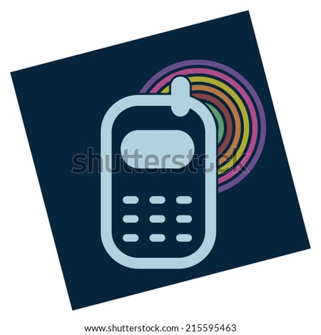 Mobile retro phone with gsm vintage signal on dark blue background sticker