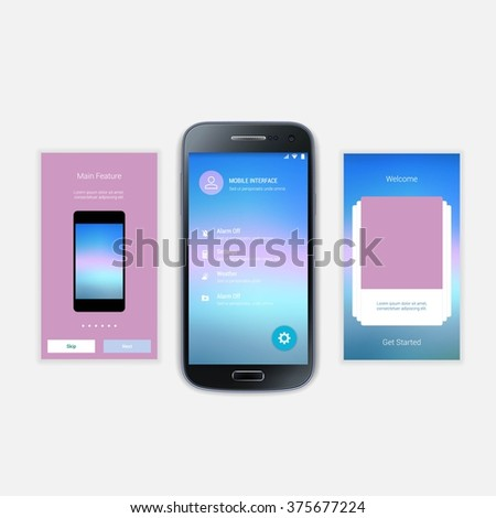 Mobile Screens User Interface Kit. UX, UI template for smart phone or responsive web site. Welcome, onboarding, login, sign-up and home page layout.