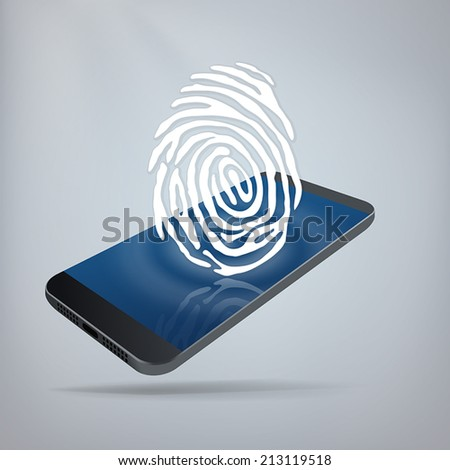 Mobile Security Concept. Fingerprint on top of smartphone. Layered file for easy customization. Fully scalable vector illustration. - stock vector