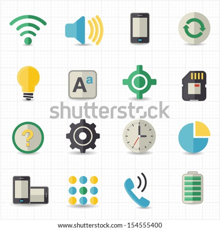 Mobile setting and toolbar icons - stock vector