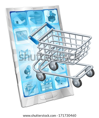 Mobile shopping app concept with a shopping cart or trolley coming out of a phone screen - stock vector
