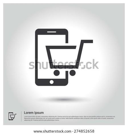 mobile shopping icon - stock vector