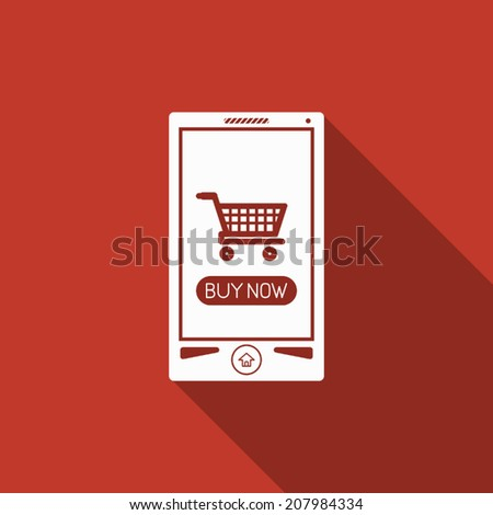 mobile shopping icon with long shadow - stock vector