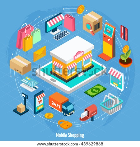 Mobile shopping isometric concept with related elements on light blue background vector illustration - stock vector