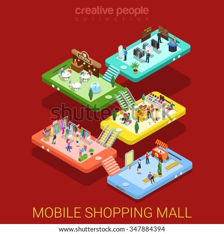 Mobile shopping mall flat 3d isometry isometric online internet sale e-commerce technology concept web vector illustration. Mobile phone store floor interior micro buyers. Creative people collection. - stock vector