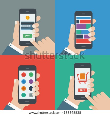 mobile shopping, payment, responsive flat design - stock vector