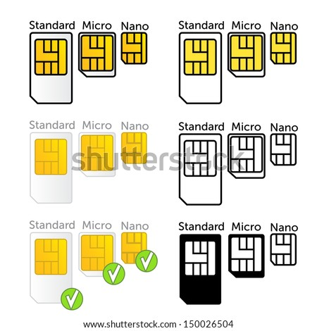 Mobile sim card types set in vector - stock vector
