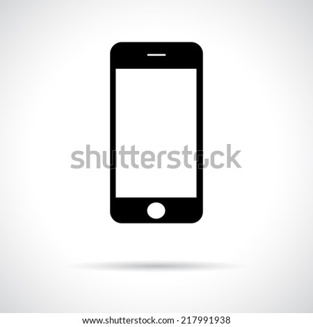 Mobile smart phone. Black icon with shadow. Flat contemporary design. - stock vector