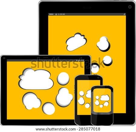mobile smart phone style and digital tablet pc style with cloud on the screen vector