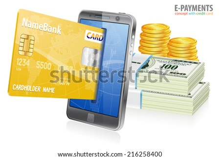 Mobile Smart Phone with Credit Cards and Money. Internet Shopping and Electronic Payments Concept, isolated on white background - stock vector
