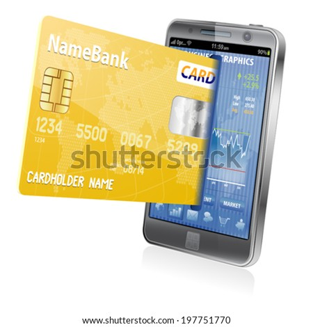 Mobile Smart Phone with Credit Cards. Internet Shopping and Electronic Payments Concept, isolated on white background