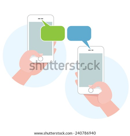 Mobile smartphone communication flat icons - stock vector
