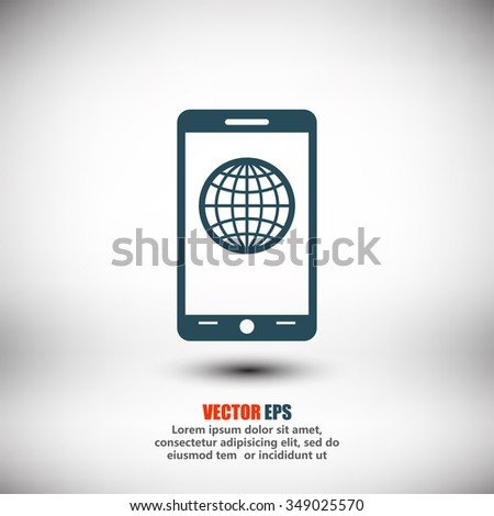 mobile smartphone icon, vector illustration. Flat design style