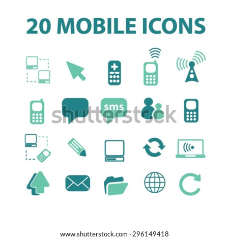 mobile, smartphone icons, signs, illustrations set, vector