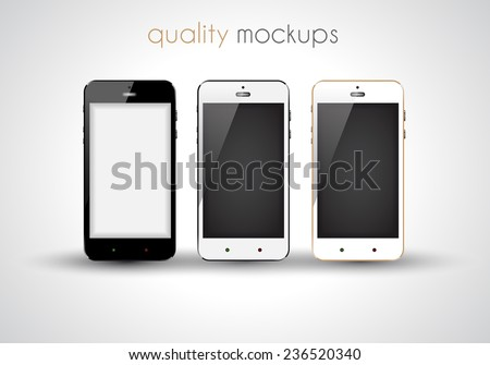 Mobile smartphone realistic collection set of elegant modern style mockups with blank screen isolated and ready to use for games previews, web elements, app presentations and so on. - stock vector