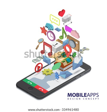 Mobile smartphone services and applications. Music, games, calendar, clock, wi-fi, map, gps, message, cloud, money, like, bubble-box icons. Isolated isometric illustration on white background. - stock vector