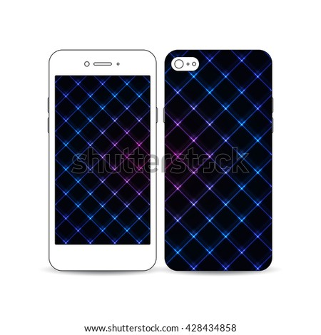 Mobile smartphone with an example of the screen and cover design isolated on white background. Abstract polygonal background, modern stylish square vector texture. - stock vector