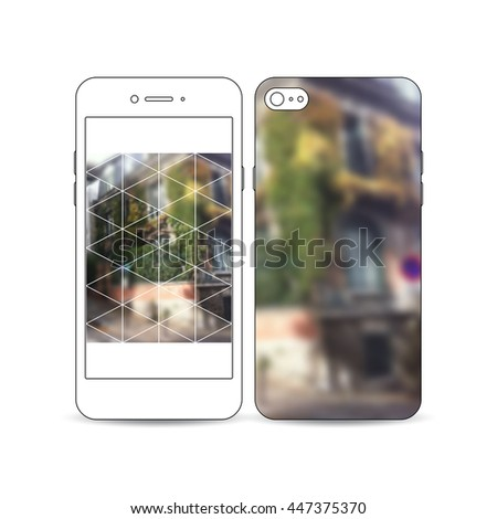 Mobile smartphone with an example of the screen and cover design isolated on white background. Polygonal background, blurred image, urban landscape, street in Montmartre, Paris cityscape - stock vector
