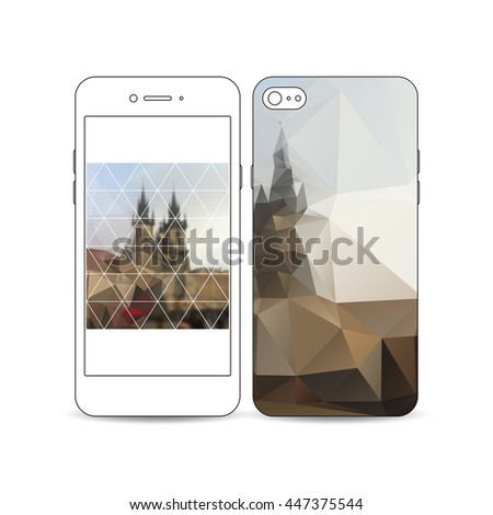 Mobile smartphone with an example of the screen and cover design isolated on white background. Polygonal background, blurred image, urban landscape, cityscape of Prague, modern triangular texture. - stock vector